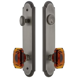 Grandeur ARCBCA_TP_ESET_238  Arc Solid Brass Tall Plate Single Cylinder Keyed Entry Set with Baguette Amber Crystal Knob and