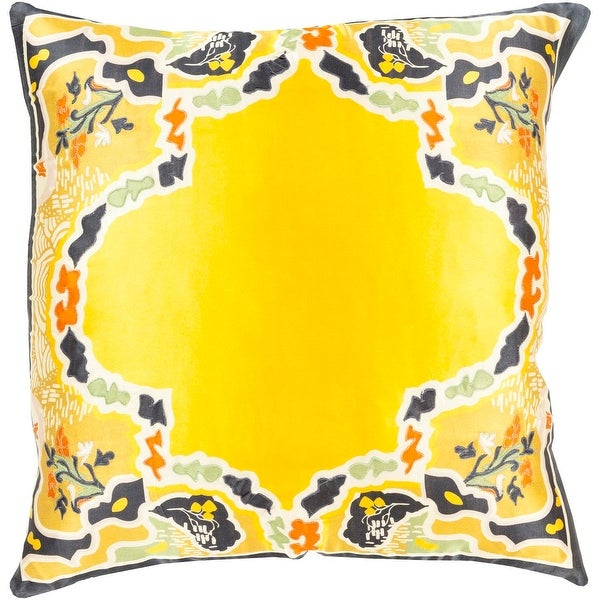 "18"" Metallic Yellow and Gray Floral Pattern Woven Square Indoor Throw Pillow"