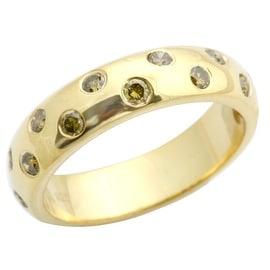 Beaitiful 0.50 Carat Bezel Set Yellow Diamond Wedding Band Ring