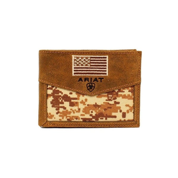 Ariat Western Wallet Mens Pass Case Camo USA Flag Med Brown - One size