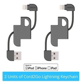 [2-Pack] Skiva USBLink Cord2Go Lighting Keychain Apple MFi Certified Sync and Charge Cable with Complimentary Carabiner