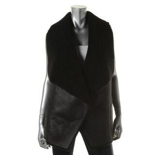 Velvet Womens Faux Suede Faux Fur Vest - p