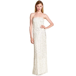 Adrianna Papell Scroll Beaded Strapless Godet Evening Gown Dress