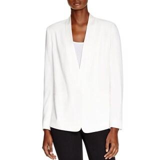 DKNY Womens One-Button Blazer Satin-Trim Single Vent