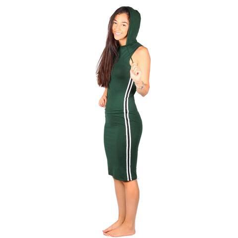 Lori&Jane Girls Green White Side Stripe Sleeveless Hooded Dress