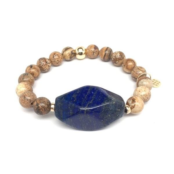 "Brown Jasper & Blue Lapislazuli Rock Candy 7"" Bracelet"