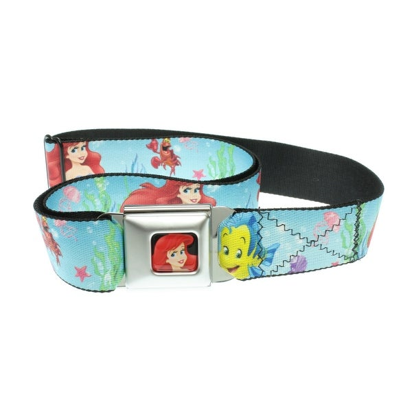 Walt Disney Seatbelt Belt - Mermaid - Ariel, Flounder, & Sebastian Crab-Holds Pants Up