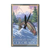 Steamboat Springs, CO - Fisherman - LP Artwork (Acrylic Wall Clock) - acrylic wall clock