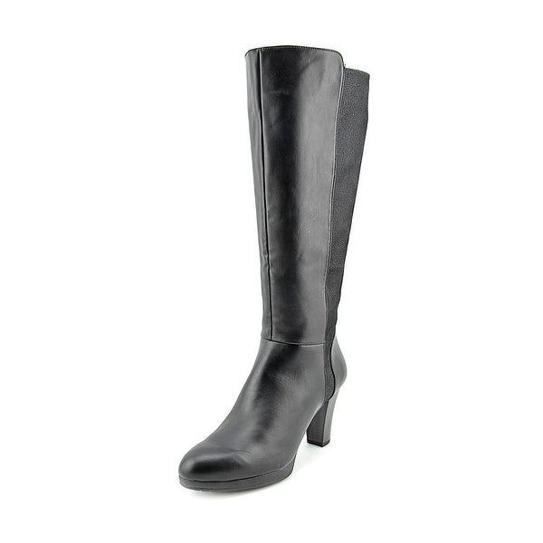 White Mountain Trivia Women Round Toe Synthetic Black Knee High Boot
