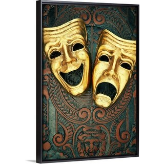 """Golden comedy and tragedy masks on patterned leather"" Black Float Frame Canvas Art"