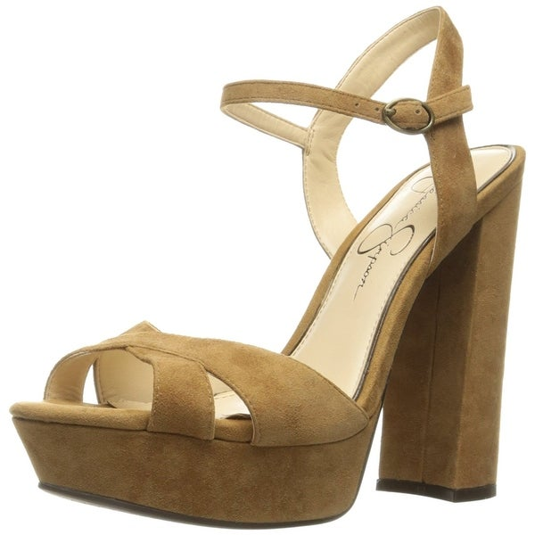 Jessica Simpson Womens Naidine Leather Open Toe Special Occasion Platform San...
