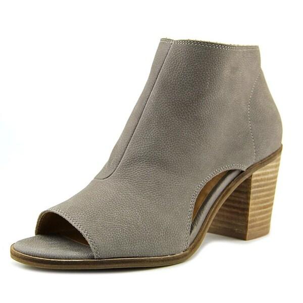 Lucky Brand Kasima Women Peep-Toe Leather Gray Bootie