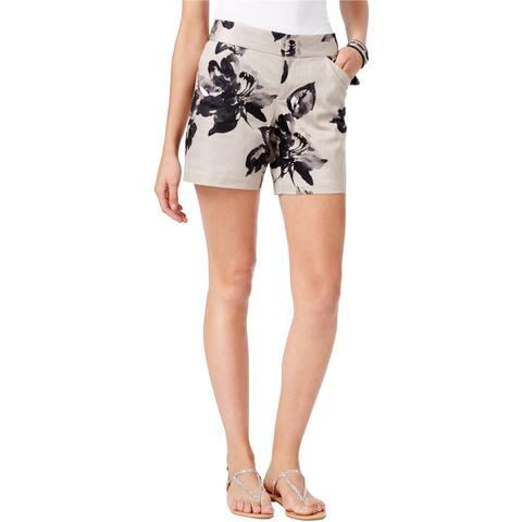 I-N-C Womens Curvy Casual Chino Shorts, beige, 16