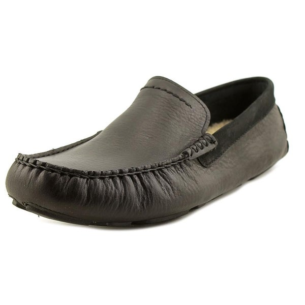 UGG Collection Henrick Men Round Toe Leather Black Loafer