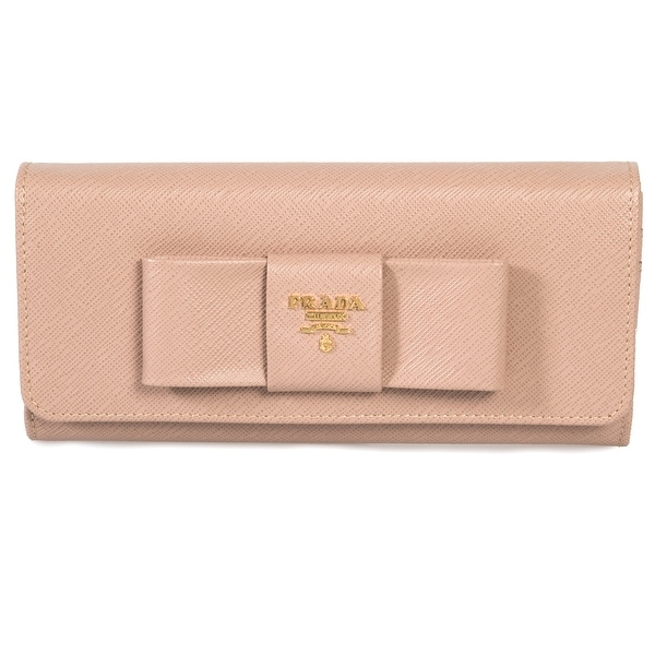 12fbd6d2ddaf59 Prada Cameo Saffiano Leather Flap Wallet With Bow Detail 1MH132 ZTM F0770