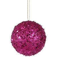 Fancy Fuchsia Pink Holographic Glitter Drenched Christmas Ball Ornament 4.75""