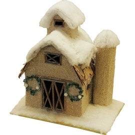 """12"""" Snow Covered Barn with Wreaths Christmas Tabletop Decoration"""