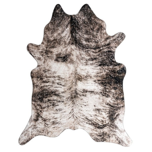 Asimi Collection Brown/White Faux Cowhide Printed Rug