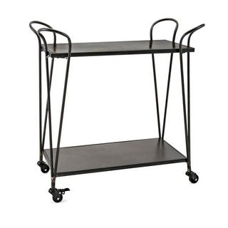 "31"" Black and Bronze Rubbed Finish Industrial Inspired Bar Cart with Locking Casters"