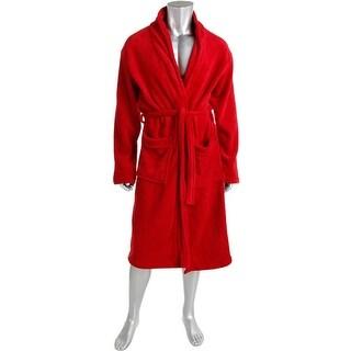 Wanted Mens Plush Micro Fleece Long Robe - S/M
