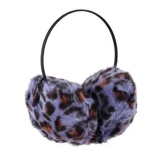 Unique Bargains Ladies Purple Black Faux Fur Ear Pad Metal Frame Ear Warmer Earmuffs