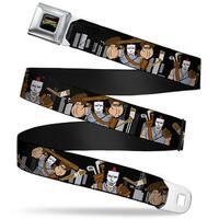Classic Tmnt Logo Full Color Casey Jones Action Poses Skyline Black White Seatbelt Belt