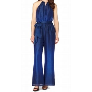 Tahari By ASL NEW Blue Women's Size 16 Keyhole Belted Halter Jumpsuit