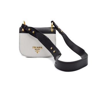 Prada Pionniere & White Bicolor Calf Leather Saddle Shoulder Bag - Black/White