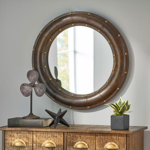 Dutton Indoor Leather Handcrafted Studded Round Wall Mirror by Christopher Knight Home