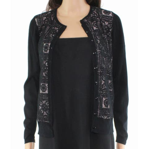 August Silk Women's Sweater Black Size Small S Cardigan Silk Lace