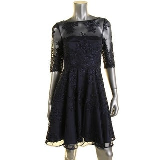 ML Monique Lhuillier Womens Lace Pleated Cocktail Dress