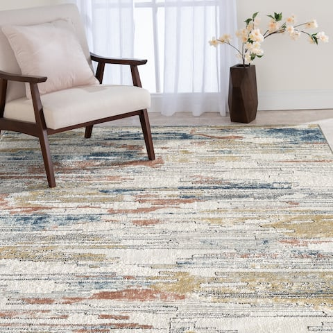 Adelyn Light Ivory and Grey Woven Area Rug