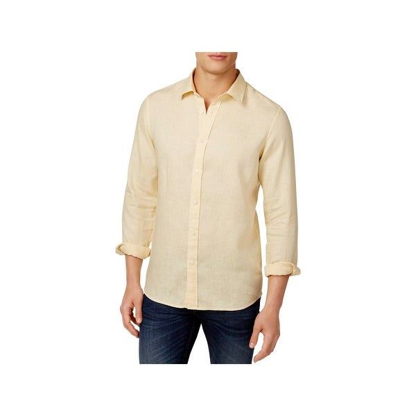 3fd70da9bc0 Shop Michael Kors Mens Button-Down Shirt Linen Tailored Fit - Free Shipping  On Orders Over  45 - Overstock - 22732848