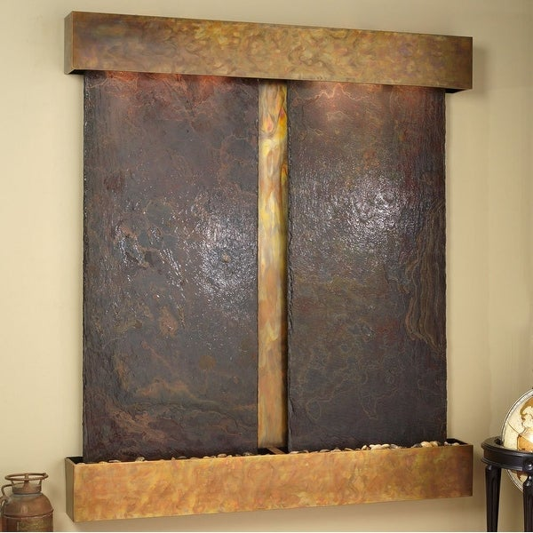 Adagio Cottonwood Falls Fountain w/ Rajah Natural Slate in Rustic Copper Finish