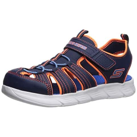 Skechers Kids Boys' C-Flex Sandal-Isoblast Sneaker, Navy/Orange, 1 Medium Us Little Kid