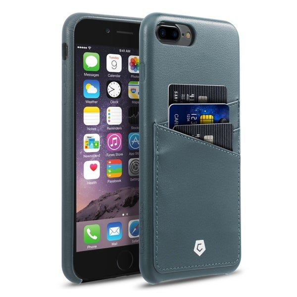 CobblePro Grayish Blue Leather with Wallet Flap Pouch For Apple iPhone 7 Plus