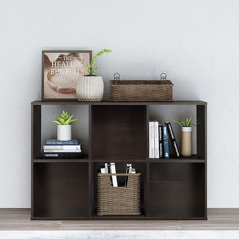6 Cubes Organizer Wood Bookshelf Open Shelf Bookcase