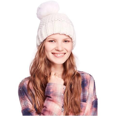 Free People Womens Skyline Pom Beanie Hat - One Size