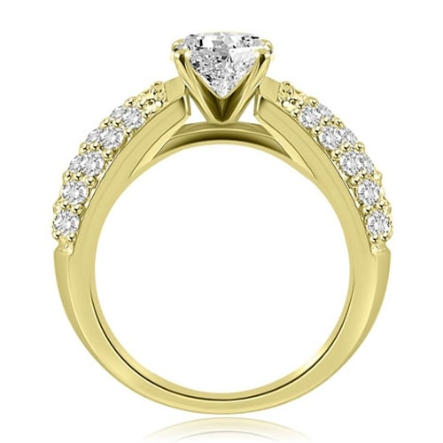 2.00 cttw. 14K Yellow Gold Three Row Round Cut Diamond Engagement Ring