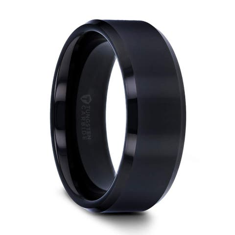 Thorsten INFINITY Tungsten Rings for Men Tungsten Comfort Fit Black Wedding Ring Band with Beveled Edges - 12mm