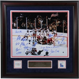 1980 USA Hockey Team 16x20 Photograph w Do You Believe in Miracles Insc And Elite Framed in 24x24 C