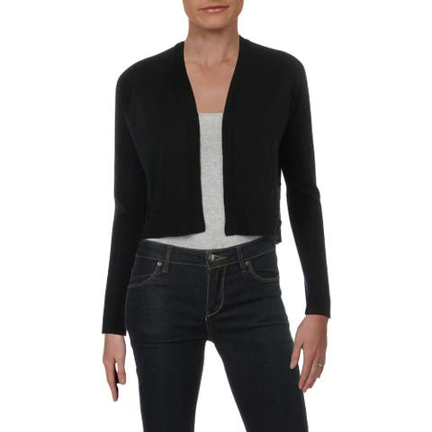 Aqua Womens Cardigan Sweater Crop Lace-Up - Black