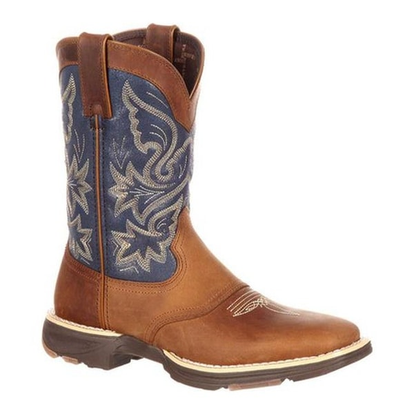 "Durango Boot Women's DRD0183 UltraLite 10"" Western Saddle Boot Tan/Blue Denim/Full Grain Leather"