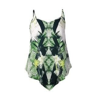 INC International Concepts Women's Printed Handkerchief Tank (0, Tropical Ikat) - tropical ikat - 0