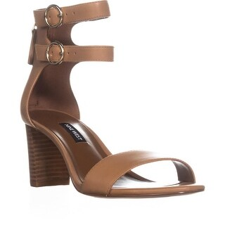 Nine West Parlans Buckle Peep Toe Sandals, Dark Natural