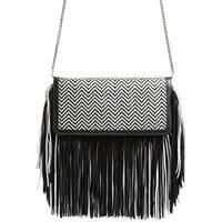 Sam Edelman Fifi Womens Fringe Leather Clutch Handbag Black and White