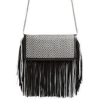 Sam Edelman Fifi Womens Fringe Leather Clutch Handbag Black and White