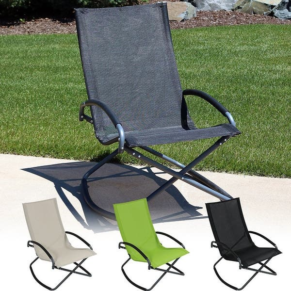 Fabulous Shop Sunnydaze Folding Rocking Lounge Chair Free Shipping Gmtry Best Dining Table And Chair Ideas Images Gmtryco