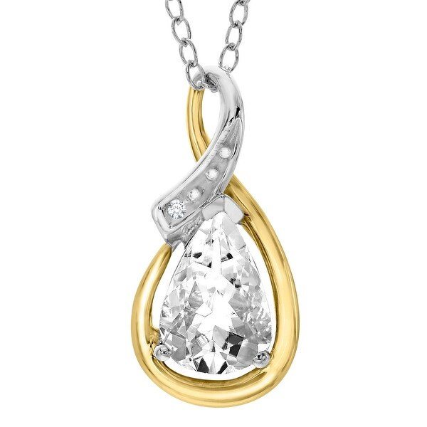1 1/2 ct White Topaz Pendant with Diamonds in Sterling Silver & 10K Gold