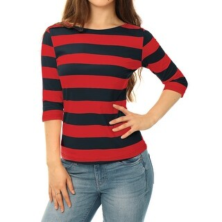Unique Bargains Women Elbow Sleeves Boat Neck Striped Tee